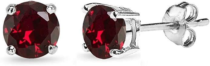 Sterling Silver Created Ruby Round-Cut Solitaire Stud Earrings, All Sizes