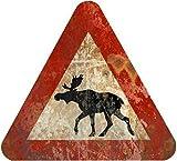 1art1 Straßenschilder - Vorsicht Elche Poster Blechschild