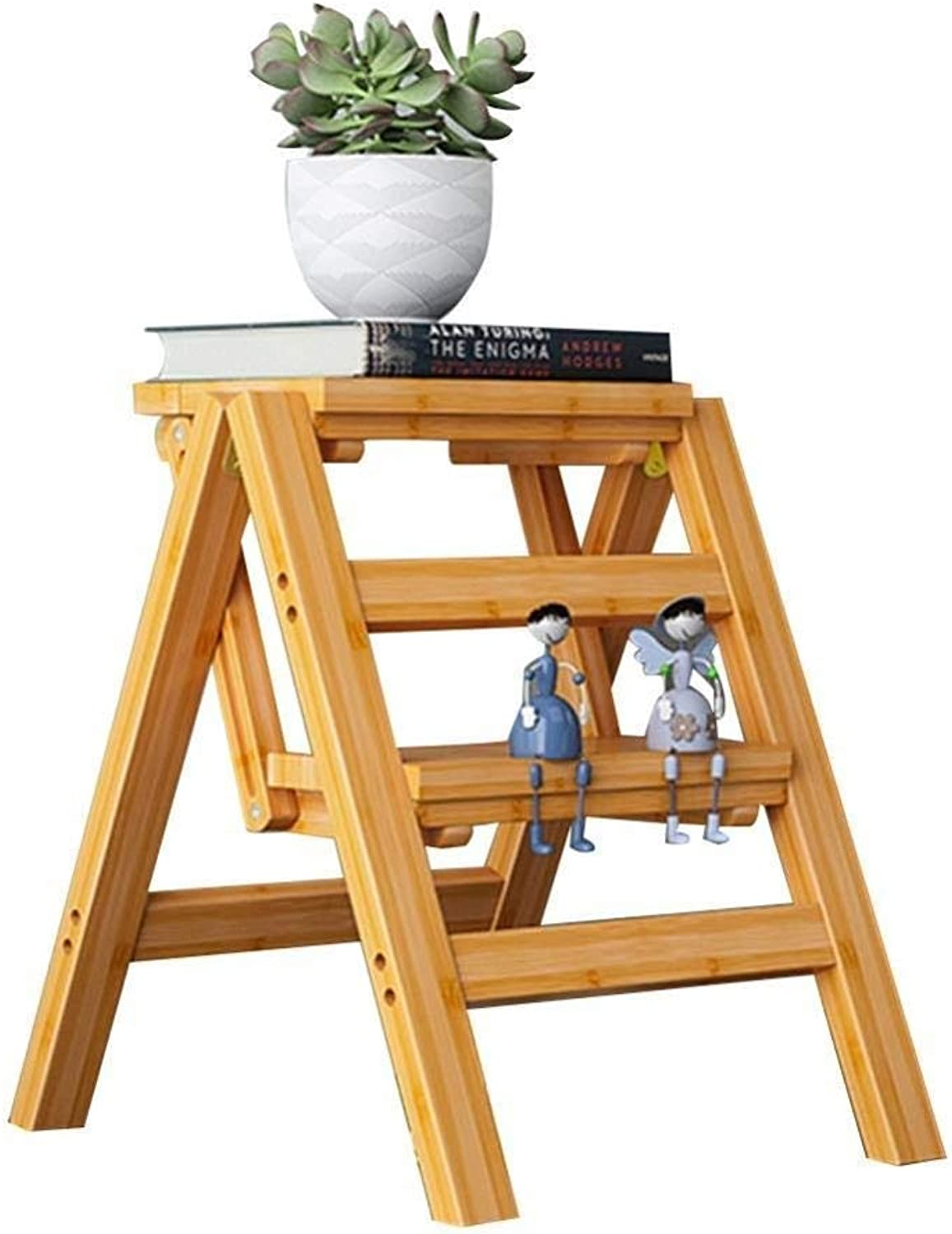 Step Stool Step Ladder Folding Ladder Stool Staircase Solid Wood Multifunction Interior Change The shoes Bench, 2 3 4 Steps Stool Step Stool (Size   38x46x50cm)