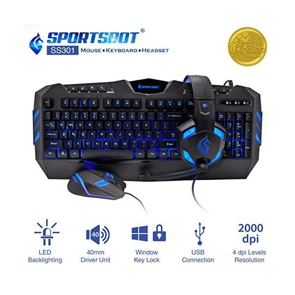 SportsBot SS301 Blue LED Gaming Over-Ear Headset Headphone, Keyboard & Mouse Combo Set w/ 40mm Speaker Driver, Microphone, Multimedia Keys & Window Key Lock, 4 DPI Levels (BLU)