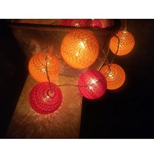 Guirlande Lumineuse, Morbuy Batterie Chaîne de Lumière Boules Coton 30 LED 4.8m Cosy Lumière Couleur Décoration Pour La Saint Valentin Noël Fêtes Mariage d'autres Fêtes Ou Occasions Etc(4.8m / 30 Boule lumière, Thème orange)