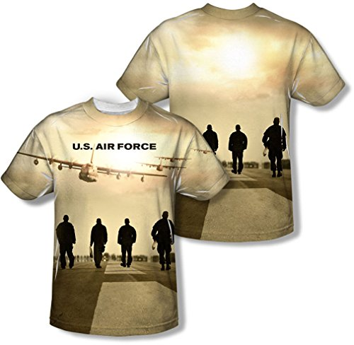 Air Force - T-shirt de la jeunesse Long Walk (Front / Back Imprimer) -, X-Large, White