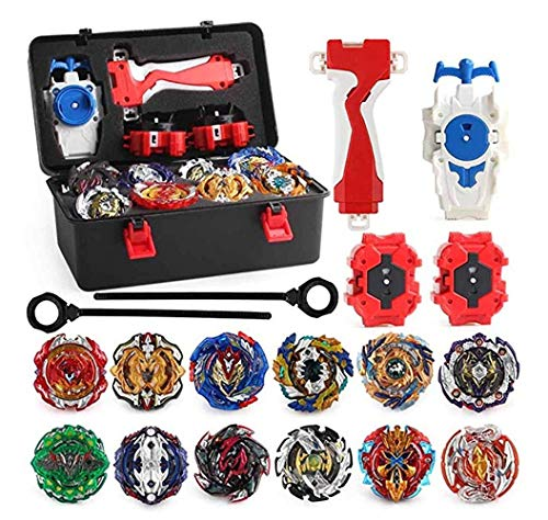 XIXI-POPOMT 12 pcs Bayblades Burst Turbo Evolution Metal Fusion Bay Blade Toys Gyro Battling Game Starter Pack Set with 12 Spinning Top + 3 Launchers - Black Box