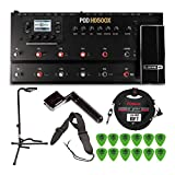 Line 6 POD HD 500X Guitar Multi-Effects Processor with Tripod Guitar Stand, Tuner, Instrument Cable, String Winder, and Guitar Picks Bundle (6 Items)