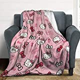 WOMFUI Hello Kitty Bow Flannel Microfiber Blanket Lightweight Super Soft Cozy Bed Blanket 50' x 40'