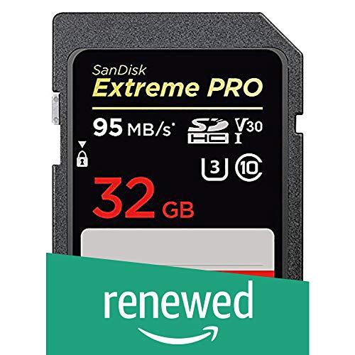 SanDisk Extreme PRO 32 GB SDHC Speicherkarte bis zu 95 MB/Sek, Class 10, U3, V30 (Generalüberholt)