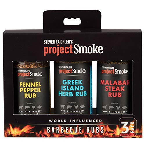 Steven Raichlen International 3 Pack BBQ Grill Spices - GIFT BOX - American Barbecue Spice Rub Sampler Pack for Meat, Poultry, Fish