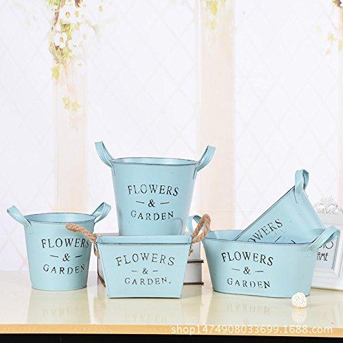ZHFC-pot de fleurs vert crafts pastoral charnues inséré des fleurs séchées ameublement décoration des décorations,la lumière bleue,longueur 27,largeur 16,hauteur 12
