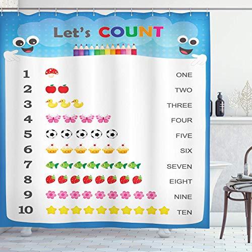 N\A Pädagogischer Duschvorhang, Zählen Sie bis zu zehn Zahlen Kindergarten Spielen Kinder Lernen mit Cartoon-Gegenständen, Stoff Stoff Badezimmer Dekor Set mit Haken, Blau Weiß