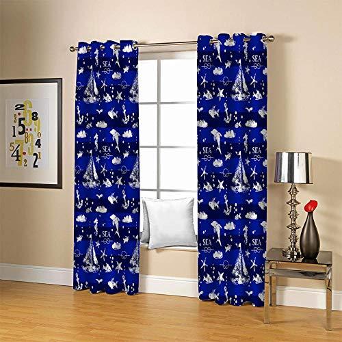 empty verdunkelungs Vorhang lichtundurchlässig Blue Boy Zimmer 3D Verdunkelungsgardinen Ösen Kinderzimmer Isolierung und Geräuschreduzierung Haushalt Wohnen Deko Thermovorhang 2xB168xH229cm