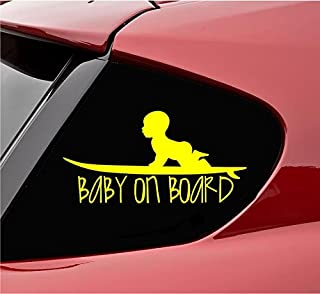 Baby on board with baby on surf board Vinyl Decal Sticker (Yellow)