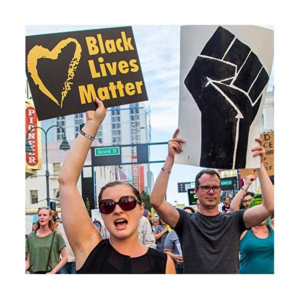 Cooluckday Black Lives Matter Bracelet Silicone Wristband Bracelets Black Rubber Bangle Bracelet 10 Pcs