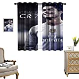 Blackout Curtains for Living Room Kids Bedroom Curtains Ronaldo La Liga Real Madrid Blocking Sunlight from Entering The Room Set of 2 Panels W72 x L84