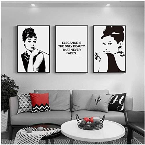 Surfilter Print auf Leinwand Schwarz Weiß Audrey Hepburn Wandkunst Leinwand Malerei Poster und Drucke Wandbild für Wohnzimmer Dekor 15.7& rdquo; x 23.6& rdquo; (40x60cm) x3 No Frame