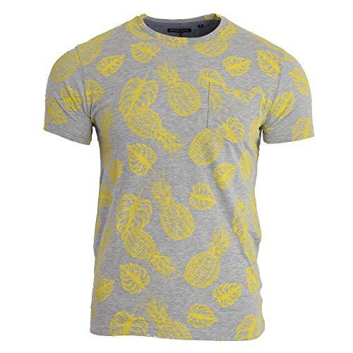 Brave Soul Herren T-Shirt mit Ananasmuster und Rundhalsausschnitt (S) (Grau meliert)