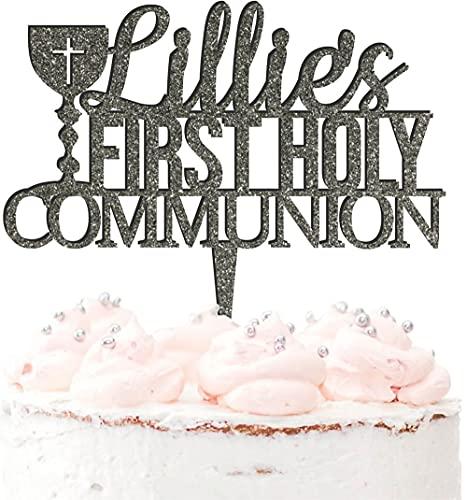 Decoración para tartas de acrílico con nombre personalizado para primera comunión en 20 colores, color plateado brillante