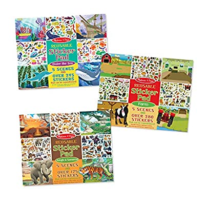 Melissa & Doug Reusable Sticker Pad Bundle - Jungle, Farm and Under The Sea