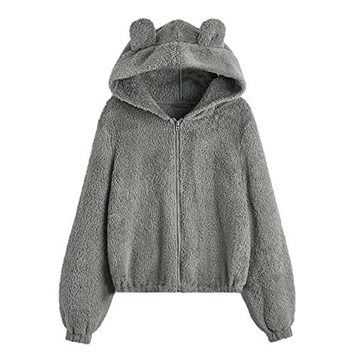 WAo Sudadera de forro polar con capucha para mujer, con cremallera, estilo casual, color sólido, con capucha, chaqueta suelta, abrigo al ras de invierno, cálido, Gris sólido, L