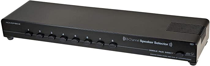 Monoprice 8-Channel Speaker Selector - Black With Impedance Matching Protection, Up To 200 Watts Per Ch. Perfect for Home Theater Audio
