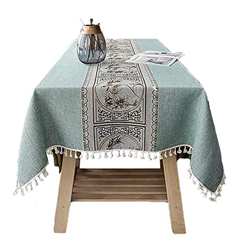 QINJIE Mantel Mantel Mantel Rectangular Mantel de Lino Lavable, manteles repelentes al Agua con Borde de Borla Manteles para la decoración de la Cocina del hogar Color y tamaño seleccionables