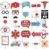 Nurse Graduation Photo Booth Props Kit - Medical School BSN RN Nursing Grad Party Supplies - No DIY Needed, 28 Count
