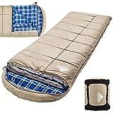 Saco de dormir de invierno de 0 grados para pescar, cazar, viajar y acampar, especialmente en invierno frío al aire libre con forro de franela extraíble y bolsa de compresión