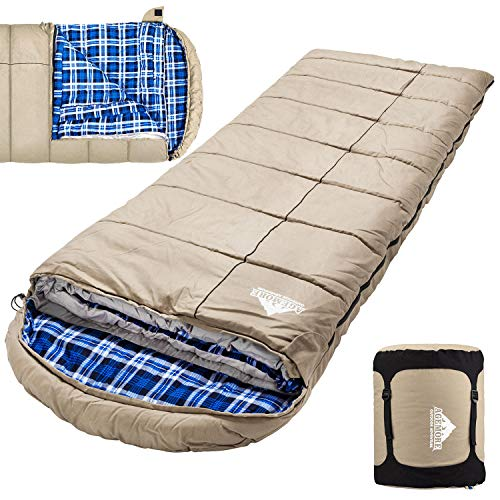0 Degree Canvas Sleeping Bag for Fishing, Hunting, Traveling and Camping Particularly in Cold Winter Outdoor with Removable Flannel Liner and Free Compression Sack for Big and Tall Adults