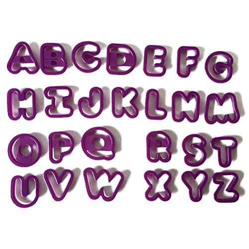 TOYMYTOY Buchstaben Ausstecher Ausstechformen für Keks Plätzchen Tortendekorationen 26 Stücke (Lila)