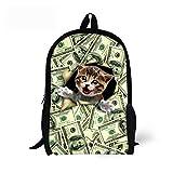 CHAQLIN - Mochila para niños, diseño de perro y gato Verde Cat-4 Medium