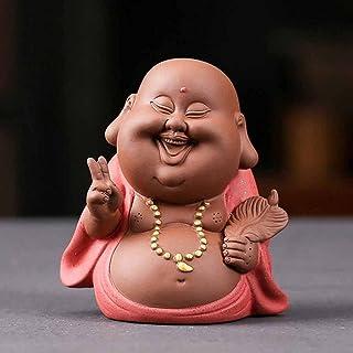 ZLBYB Purple Sand Little Monk Tea Pet Ceramic Boy Figurines Home Decoration Cartoon Little Monk Sculpture Buddha Statue fo...