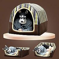 BEAAE-net ペット犬小屋の大型犬の四季普遍的な取り外しと洗える小さな中型犬のベッド冬暖かい家-ブラウン_XL