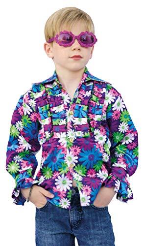 Karneval-Klamotten Hippie Hemd Kinder blau lila Blumen