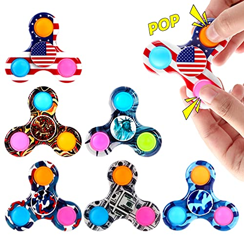 GOHEYI 6PCS Pop Fidget Spinner Toy, Ppo Spinner Toy Reducing Boredom, ADHD, Anxiety, Push Ppo Bubble Spinner Toy, Fidget Spinners Toys Set for Kids