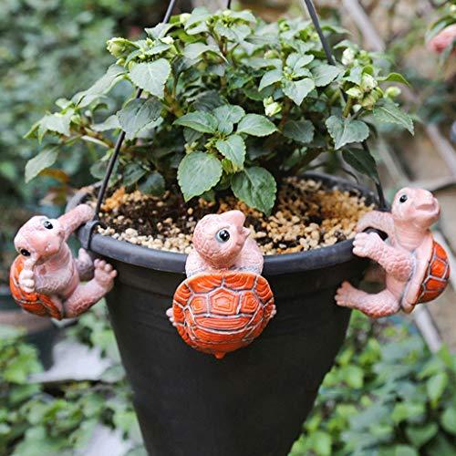 NYKK Ornamento de Escritorio Jardín y jardín de pequeños Adornos, Jardinería Decoraciones, Creativo al Aire Libre pequeños Adornos Animal, Tres Colgantes Tortugas artesanías decoración