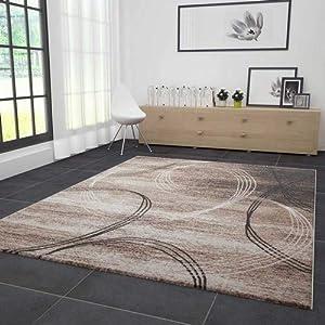 VIMODA Wohnzimmer Teppich Modern sehr dicht gewebt Kreisel Muster ...