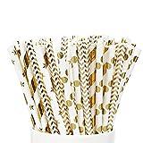 PushingBest Papierstrohhalme, strohhalme Gold, 100 Wiederverwendbare Golden Strohhalme mit 4 Mustern ideal für Cocktail Deko, Geburtstagsfeier und Hochzeit