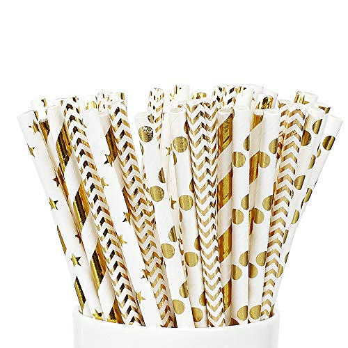 PushingBest Papierstrohhalme, Strohhalme, 100 Stück Wiederverwendbare Golden Strohhalme mit 4 Mustern ideal für Cocktail Deko, Geburtstagsfeier und Hochzeit (Weißes Gold)