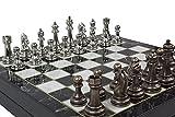 Antochia Crafts Juego de ajedrez de 14 pulgadas, tablero de ajedrez de madera chapado en cromo y figuras de ajedrez de metal
