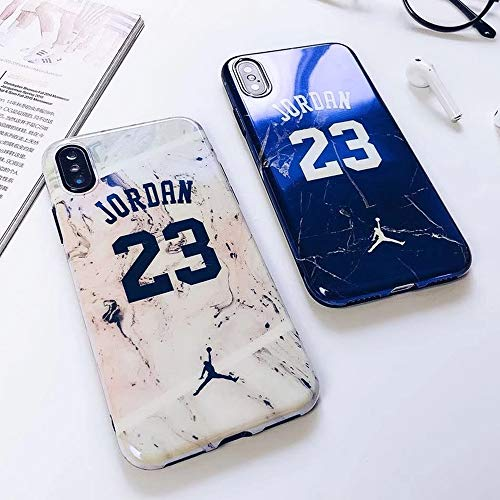 iPhone XR - Glossy Marble 23 Jordan Case + Flexible TPU Soft Silicone Rubber Material & Cracked Cement Granite Design with Smooth, Shiny, Reflective Finish Phone Cover (White)