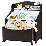 HONEY JOY Wooden Kids Toy Storage Organizer, 3 Plastic Bins, Extra Rolling Toy Box Chest & Storage Shelf, 30 INCH Toddler Furniture Storage Unit with Wheels for Child's Bedroom Playroom (Espresso)