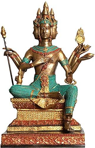 Resumen de estatuas únicas de estatua, estatuas y esculturas creativas decoración al aire libre para jardín, estatuas de Buda, de cuatro caras, decoración del hogar de Buda Feng Shui, decoraciones afo