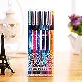 MALATA Set de bolígrafos de gel de 6 colores Patrón estrellado Kitty Hero Roller Ball Pens Stationery Office School Supplies, 9