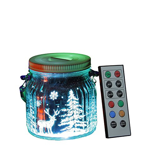 Candle Choice Living Jar, Indoor Outdoor Battery-operated Jar Light with Remote and Timer, Reindeers and Christmas Trees Design
