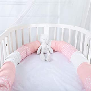 Breathable Baby Long Bumper Snake - Crib Protector Pillow, Washable & Removable Bumper for Bed Cradle, Safe Head Guard Pads for Boys Girls, Newborn Gift (Pink White, 98 Inches)