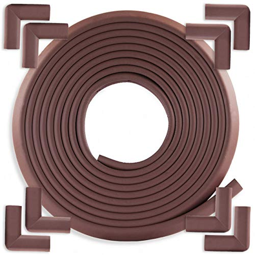 Bebe Earth - Baby Proofing Edge and Corner Guard Protector Set - 20 Feet, 8 Corners - Safety Bumpers - Child Proof Furniture and Tables - Pre-Taped Corner Cushions - Coffee Brown