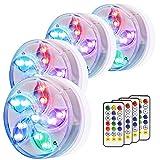 Luces para Piscinas Sumergible, Eletorot Coloridas Paisaje Decorativas LED Impermeables RGB Sumergibles con Mando a Distancia, Ideal Decoración para Acuario, Bañera o Piscina (4)