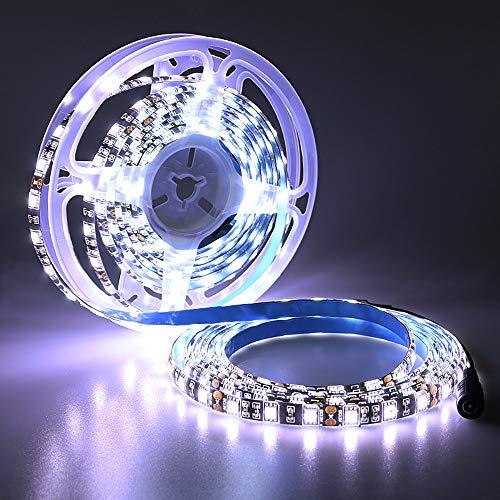 Preisvergleich Produktbild YUNBO LED Streifen Licht 5m Wasserdichtes IP65 Weiß 6000-6500K DC 12V LED Leiste Schwarz PCB Schneidbar 300 LEDs SMD 5050 LED Band