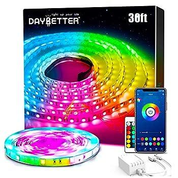 DAYBETTER Smart Led Lights 30ft 5050 RGB Led Strip Lights Kits with 24 Keys Remote App Control Timer Schedule Led Music Strip Lights