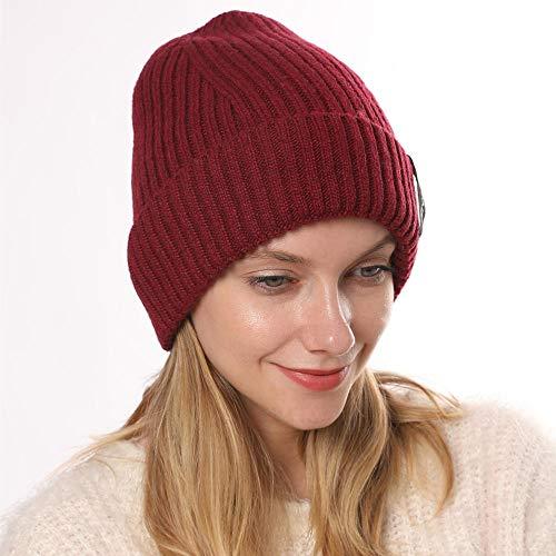 Cxypeng Unisex Damen Winter Warm Hat Knit,Plus Samt gerade gestreifte Lockenwolle warme Wollmütze-rot,Damen Strickmütze Mit Schirm