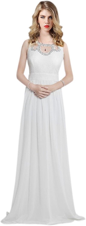 Dearta Women's ALine Jewel Sleeveless Sweep Train Evening Dresses